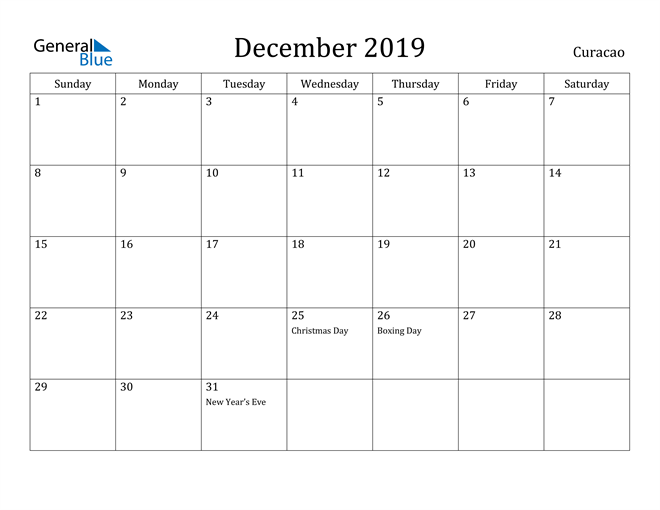 Image of December 2019 Curacao Calendar with Holidays Calendar