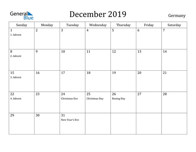 Image of December 2019 Germany Calendar with Holidays Calendar