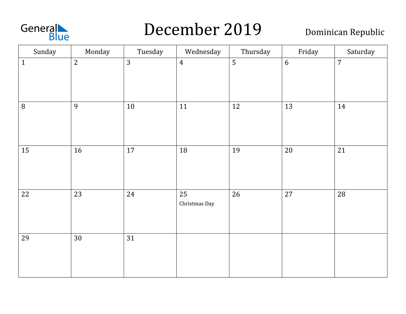 Image of December 2019 Dominican Republic Calendar with Holidays Calendar