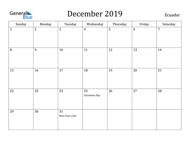 Image of December 2019 Ecuador Calendar with Holidays Calendar