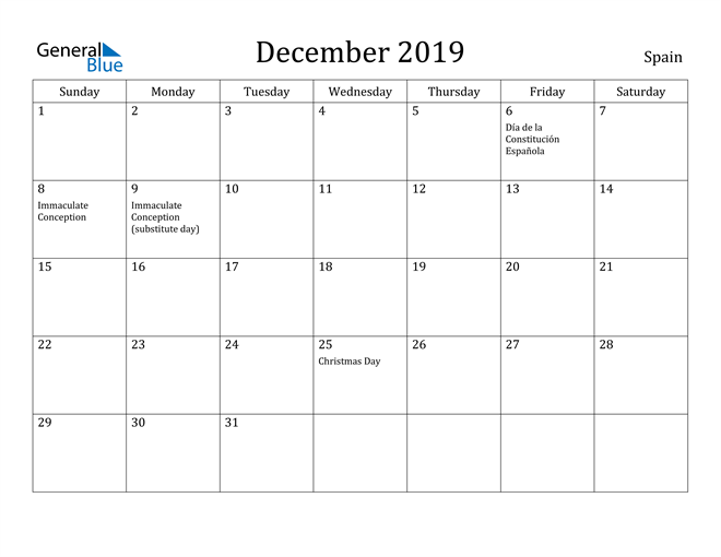 Image of December 2019 Spain Calendar with Holidays Calendar