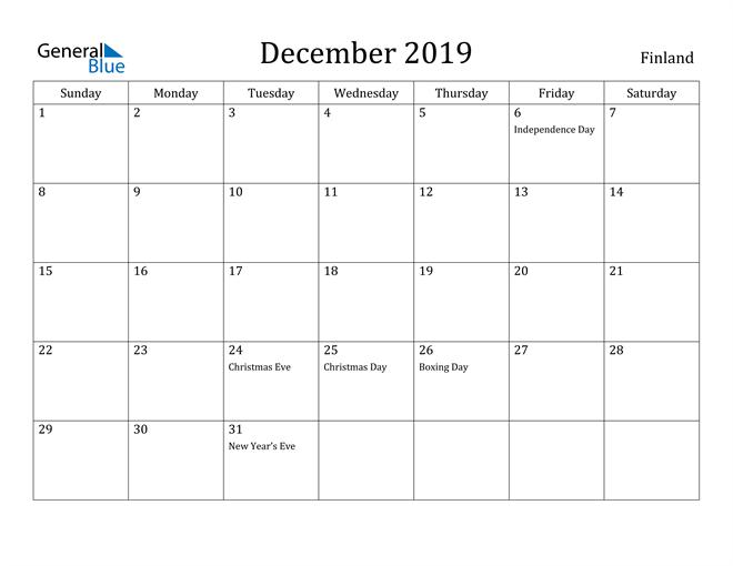 Image of December 2019 Finland Calendar with Holidays Calendar