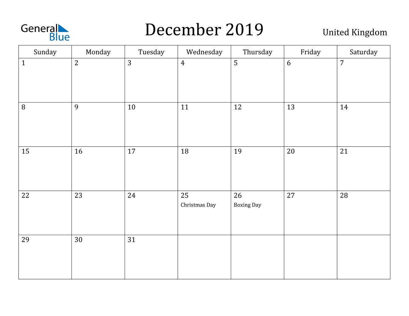 Image of December 2019 United Kingdom Calendar with Holidays Calendar