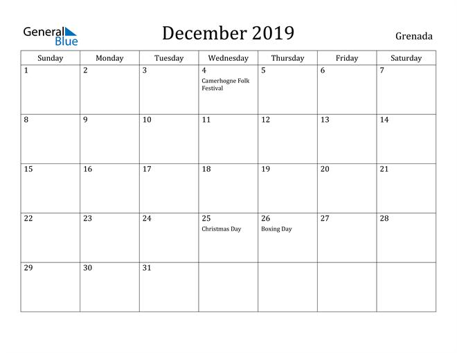 Image of December 2019 Grenada Calendar with Holidays Calendar