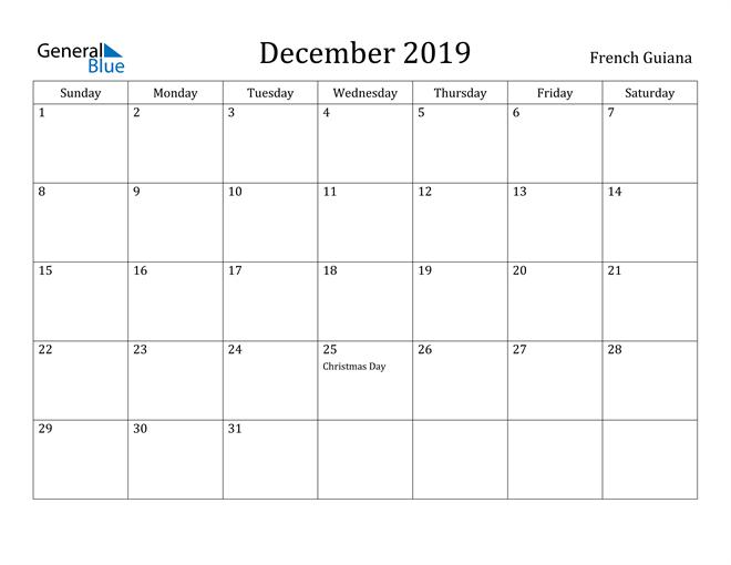 Image of December 2019 French Guiana Calendar with Holidays Calendar