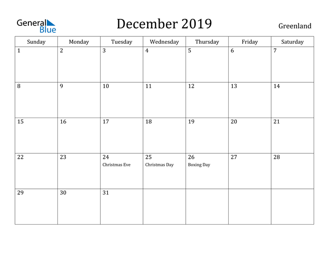 Image of December 2019 Greenland Calendar with Holidays Calendar
