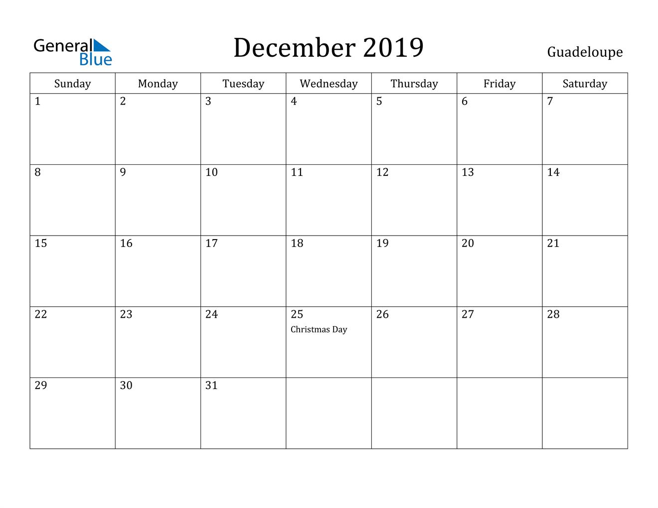 Image of December 2019 Guadeloupe Calendar with Holidays Calendar