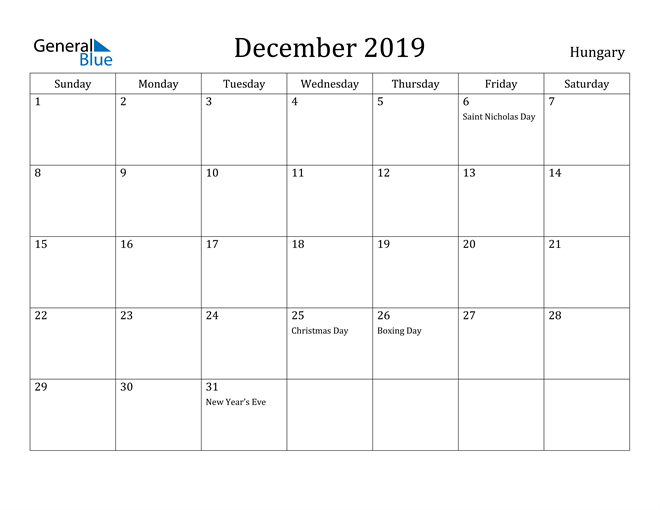 Image of December 2019 Hungary Calendar with Holidays Calendar