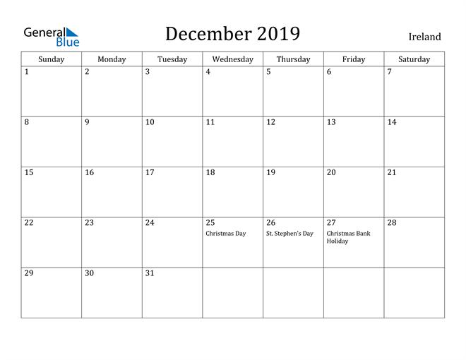 Image of December 2019 Ireland Calendar with Holidays Calendar