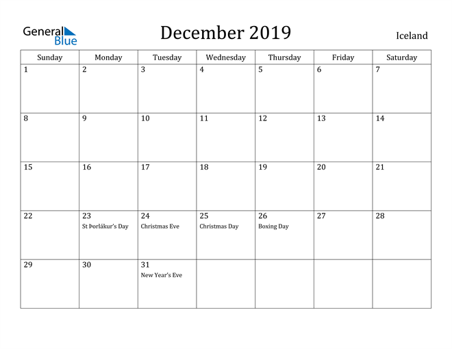 Image of December 2019 Iceland Calendar with Holidays Calendar