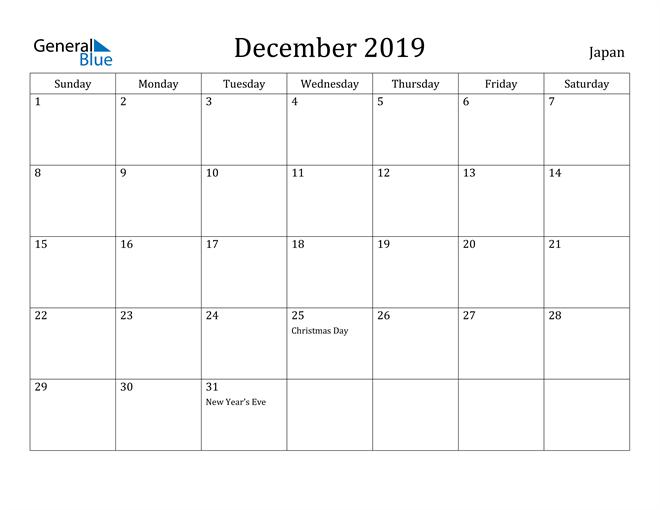 Image of December 2019 Japan Calendar with Holidays Calendar