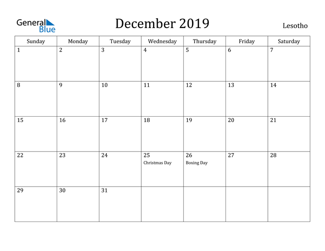 Image of December 2019 Lesotho Calendar with Holidays Calendar