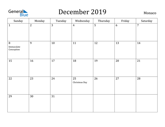 Image of December 2019 Monaco Calendar with Holidays Calendar