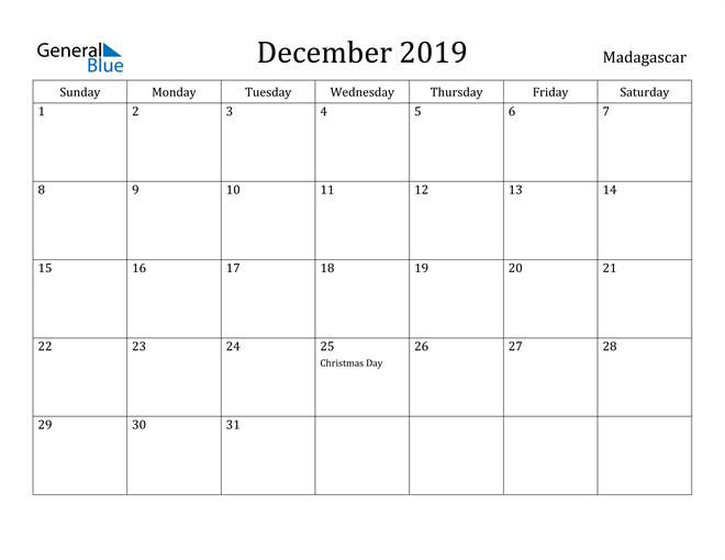 Image of December 2019 Madagascar Calendar with Holidays Calendar