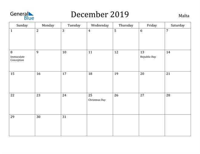 Image of December 2019 Malta Calendar with Holidays Calendar
