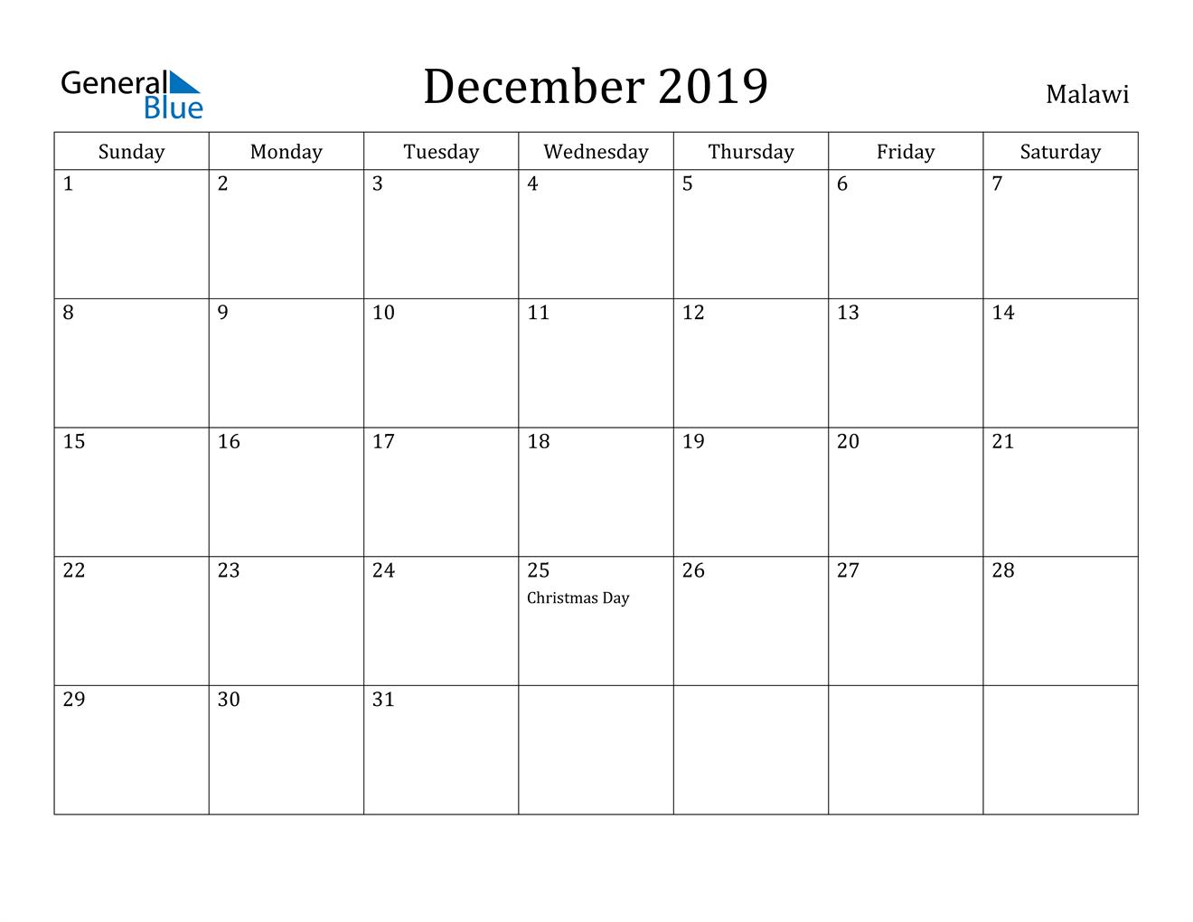 Image of December 2019 Malawi Calendar with Holidays Calendar