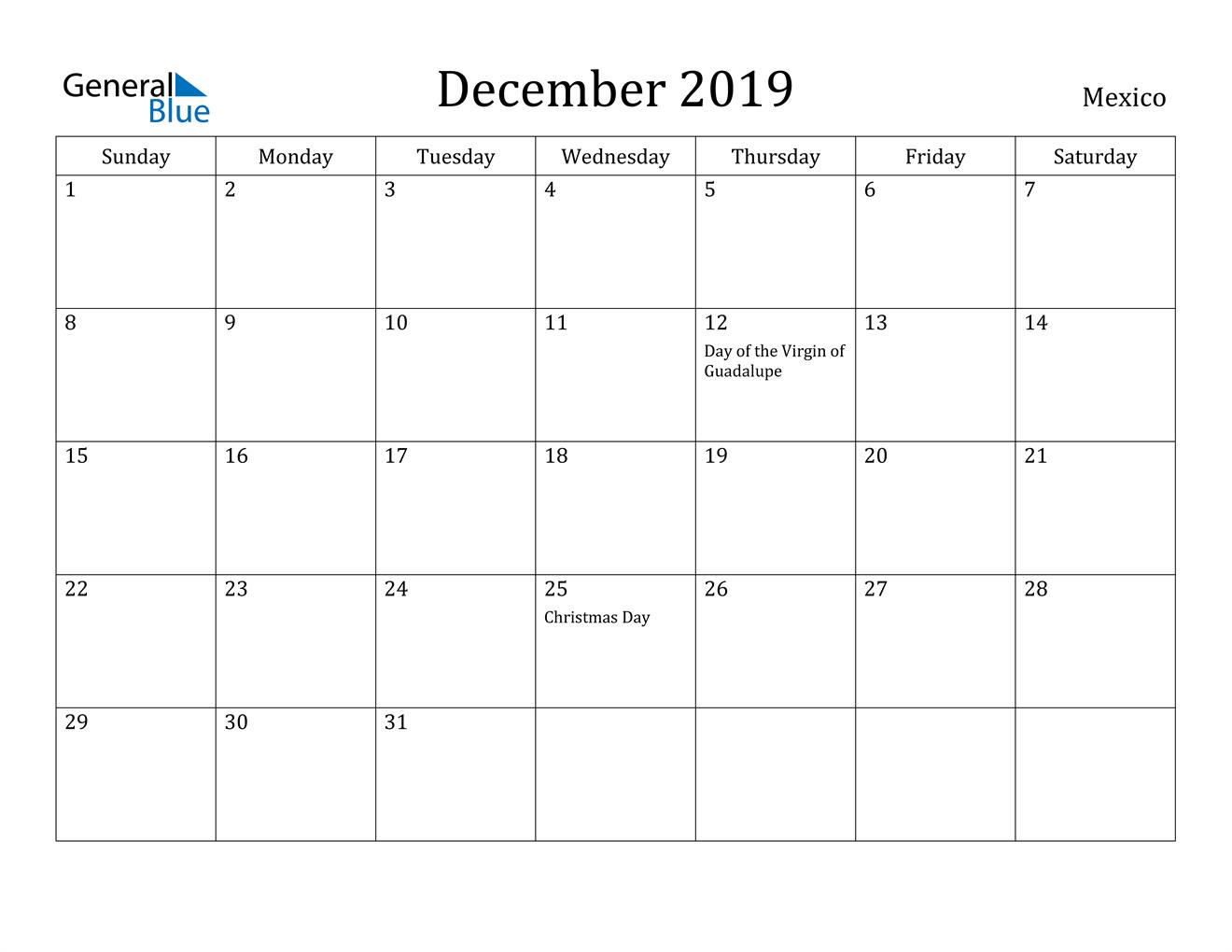 Image of December 2019 Mexico Calendar with Holidays Calendar