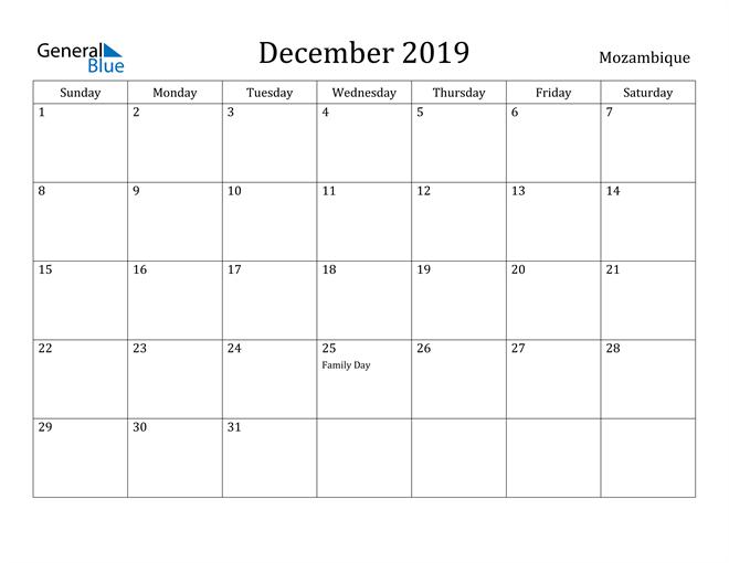 Image of December 2019 Mozambique Calendar with Holidays Calendar