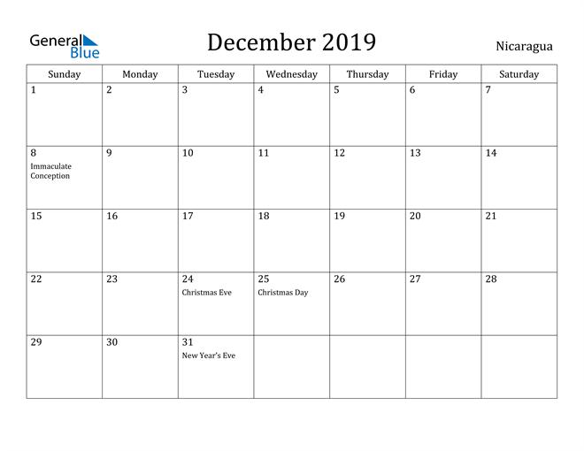 Image of December 2019 Nicaragua Calendar with Holidays Calendar