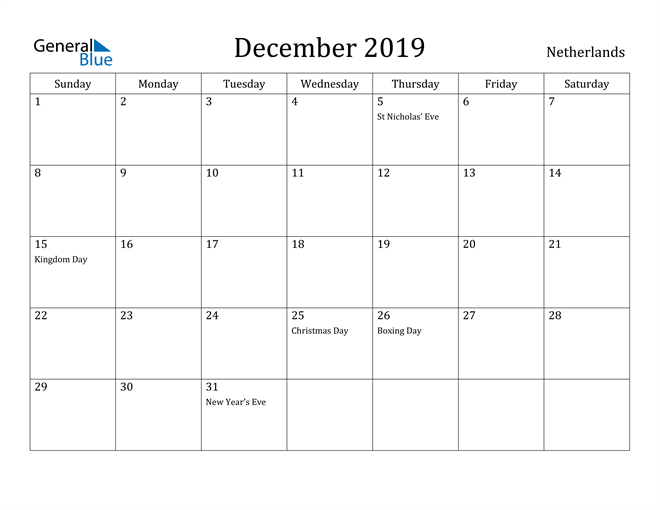 Image of December 2019 Netherlands Calendar with Holidays Calendar