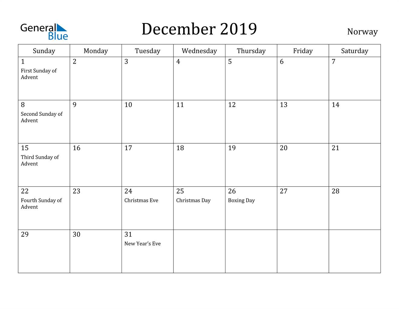 Image of December 2019 Norway Calendar with Holidays Calendar