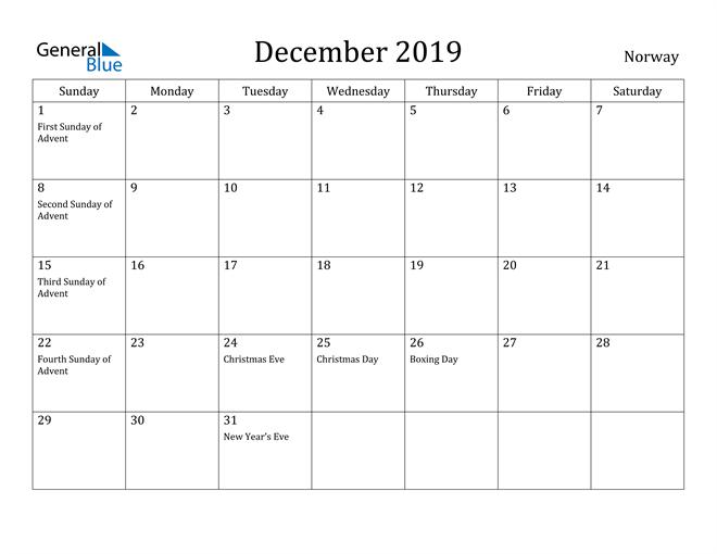 Image of December 2019 Norway Calendar with Holidays Calendar
