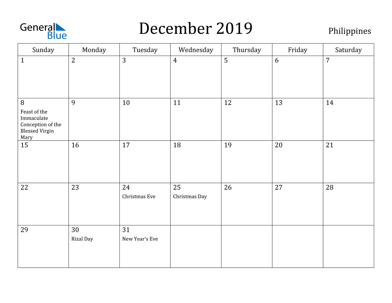 Image of December 2019 Philippines Calendar with Holidays Calendar