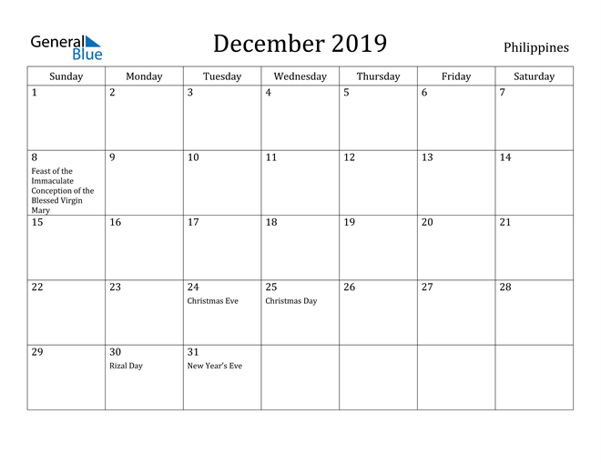 Image of December 2019 Philippines Calendar with Holidays Calendar