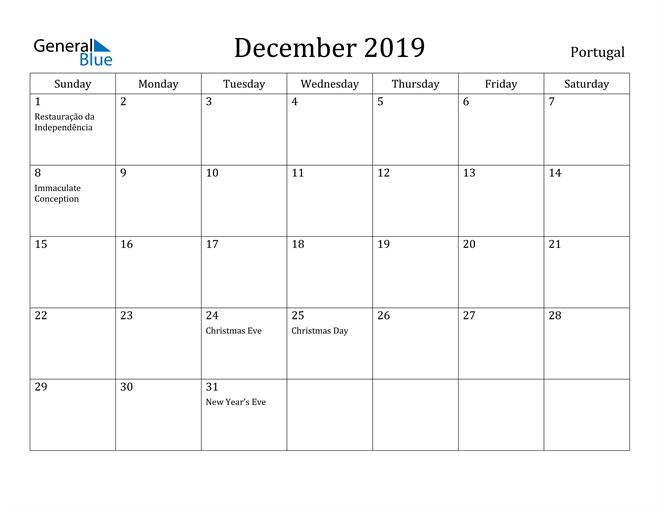 Image of December 2019 Portugal Calendar with Holidays Calendar