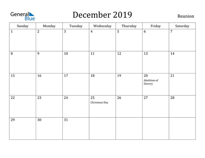 Image of December 2019 Reunion Calendar with Holidays Calendar