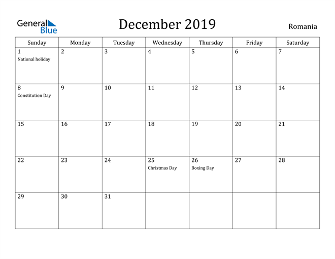 Image of December 2019 Romania Calendar with Holidays Calendar