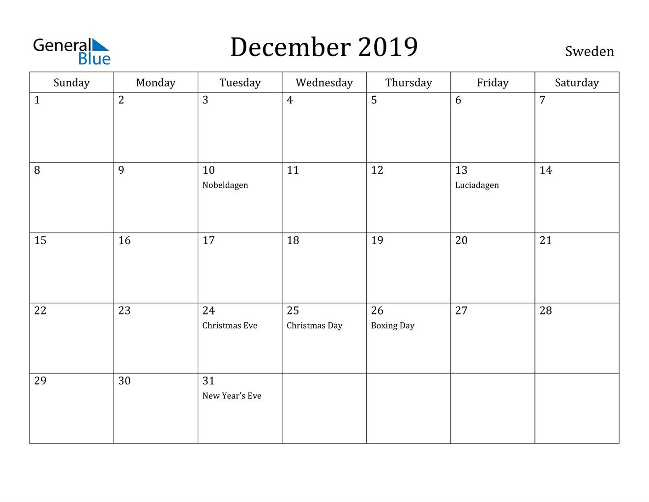 Image of December 2019 Sweden Calendar with Holidays Calendar