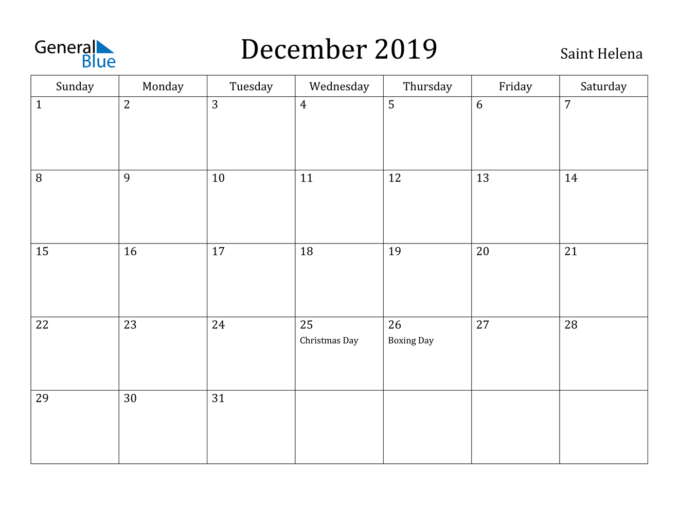 Image of December 2019 Saint Helena Calendar with Holidays Calendar