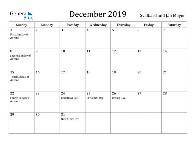 Image of December 2019 Svalbard and Jan Mayen Calendar with Holidays Calendar