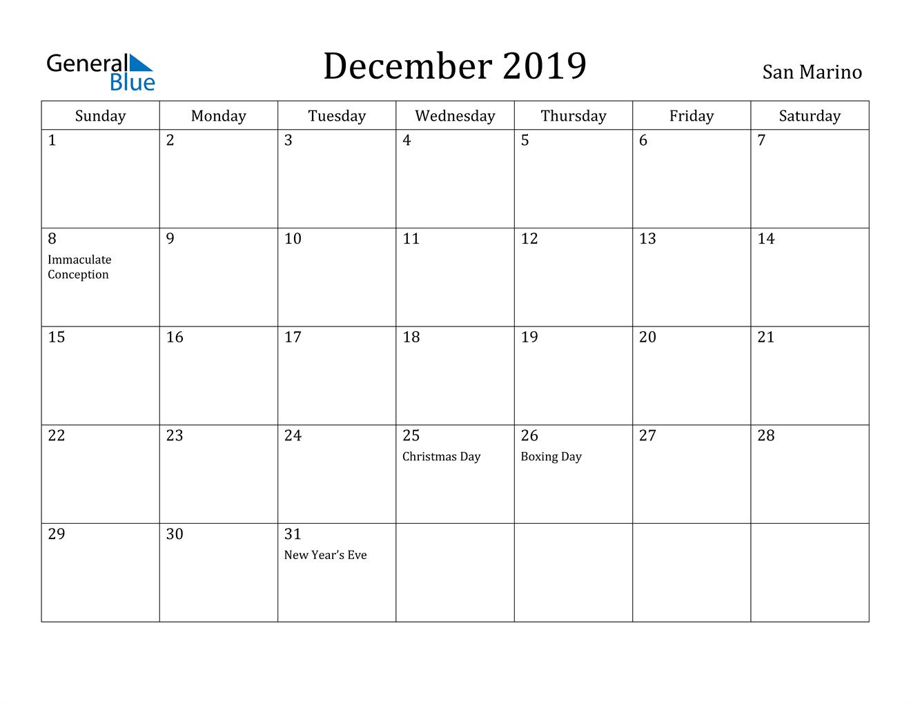 Image of December 2019 San Marino Calendar with Holidays Calendar
