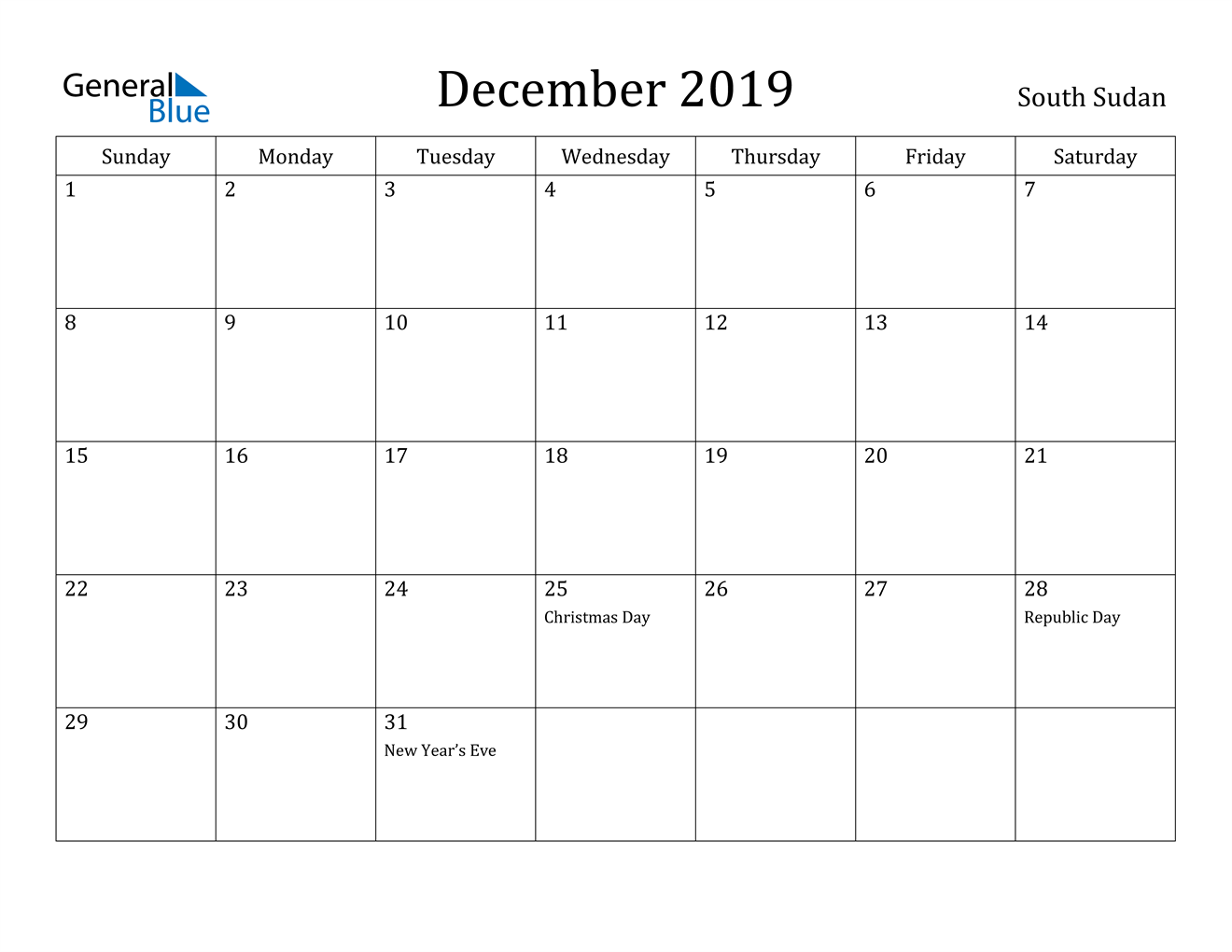 Image of December 2019 South Sudan Calendar with Holidays Calendar