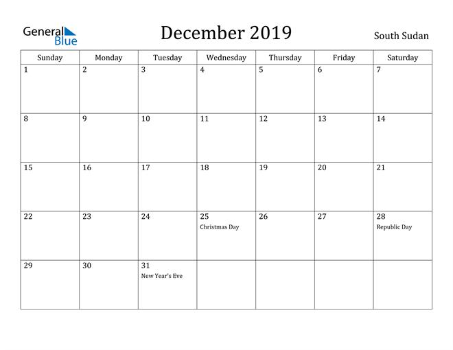 Image of December 2019 South Sudan Calendar with Holidays Calendar