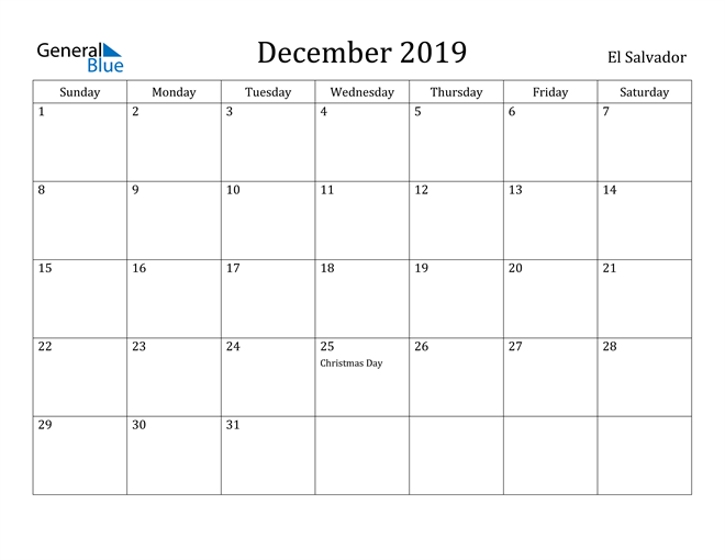 Image of December 2019 El Salvador Calendar with Holidays Calendar
