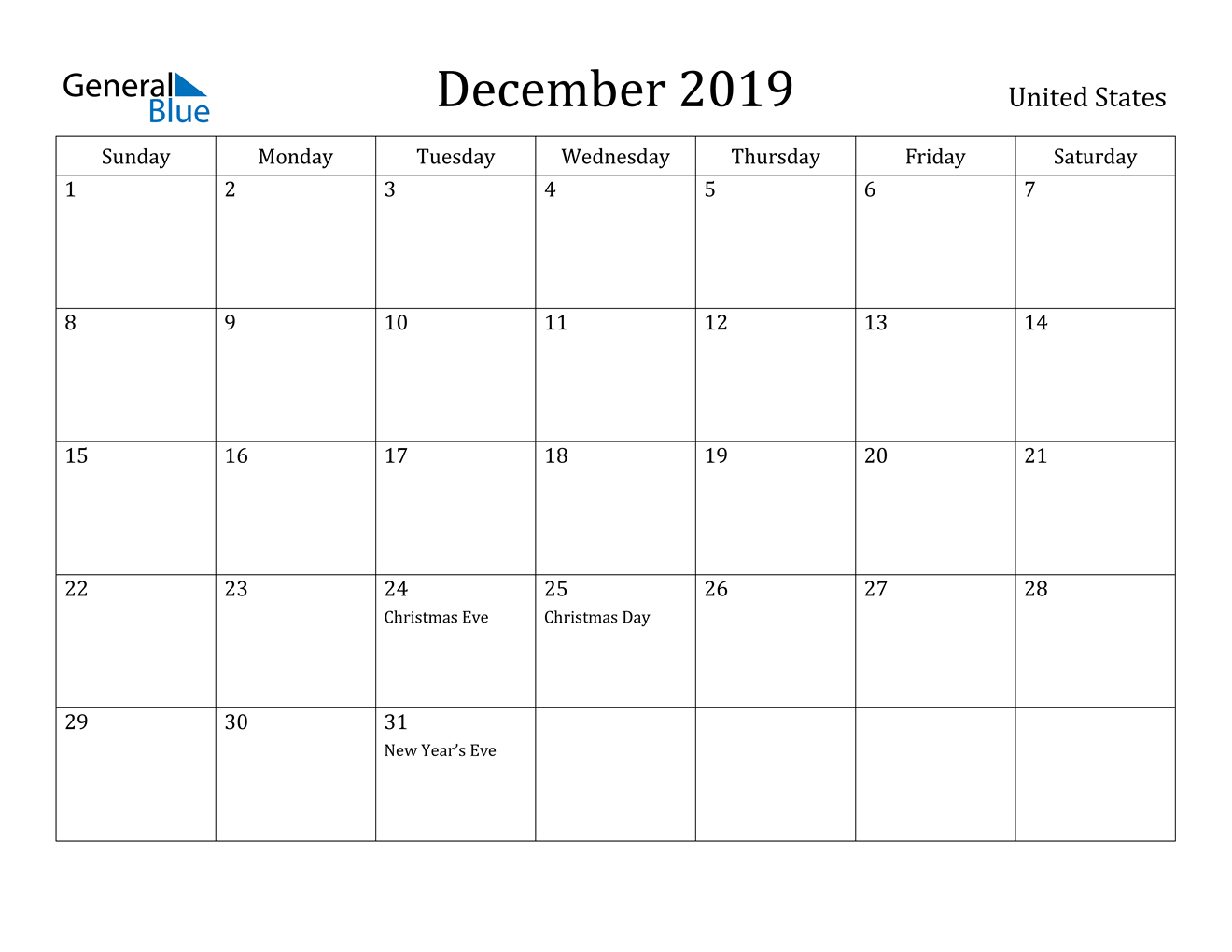 Image of December 2019 United States Calendar with Holidays Calendar