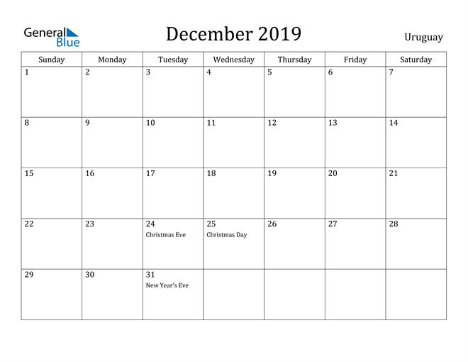 Image of December 2019 Uruguay Calendar with Holidays Calendar
