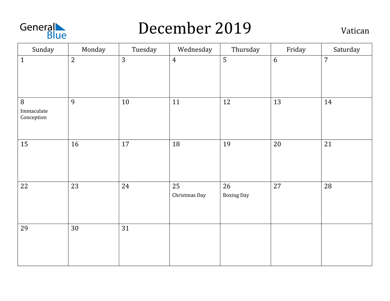 Image of December 2019 Vatican Calendar with Holidays Calendar