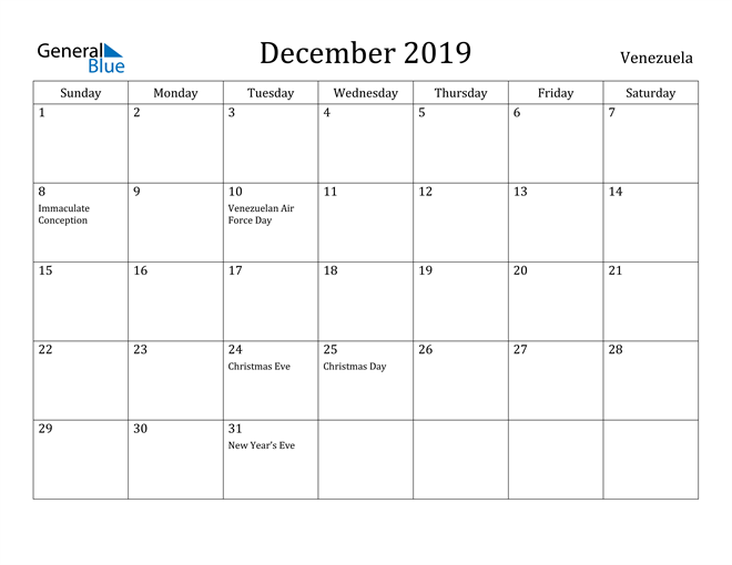 Image of December 2019 Venezuela Calendar with Holidays Calendar