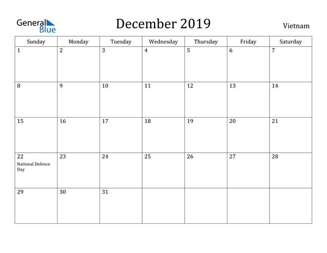 Image of December 2019 Vietnam Calendar with Holidays Calendar
