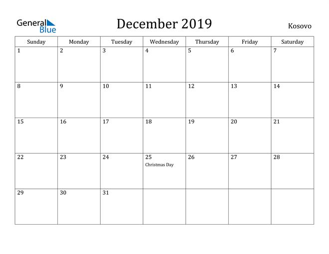Image of December 2019 Kosovo Calendar with Holidays Calendar