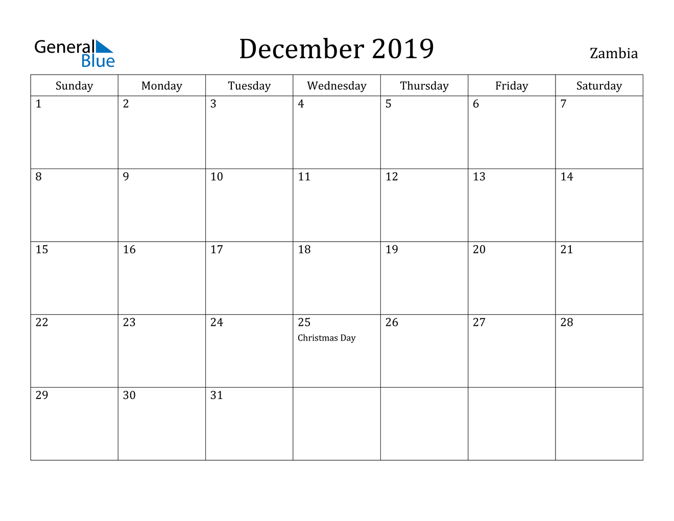 Image of December 2019 Zambia Calendar with Holidays Calendar