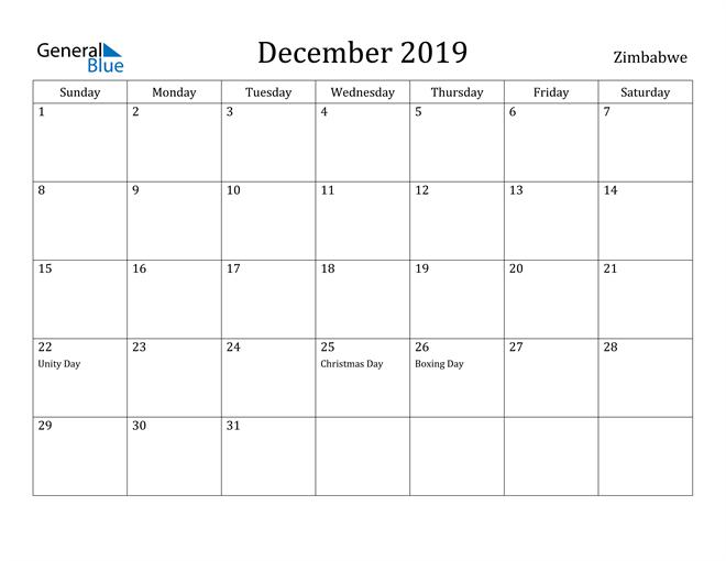 Image of December 2019 Zimbabwe Calendar with Holidays Calendar
