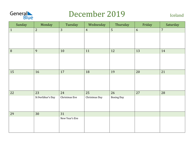 Image of December 2019 Cool and Relaxing Green Calendar Calendar