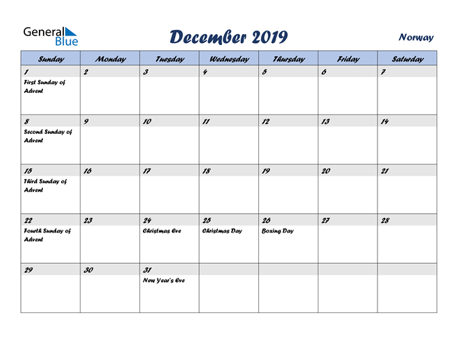 Image of December 2019 Italicized and Cool Blue, A Fun Calendar in PDF, Word and Excel Calendar