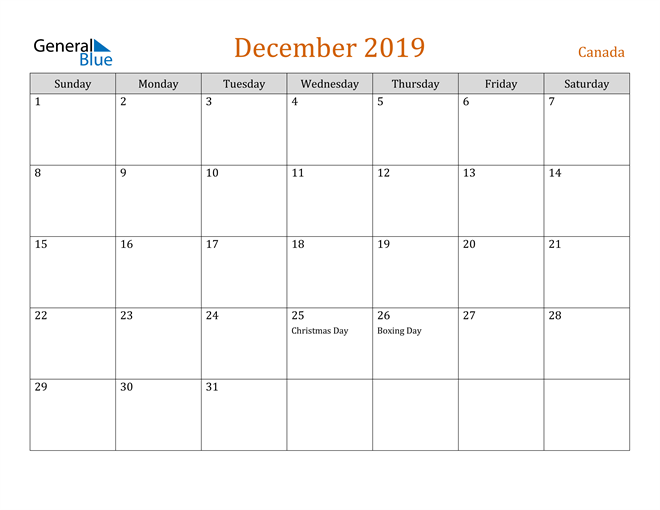 Image of December 2019 Contemporary Orange PDF, Word and Excel Calendar Calendar