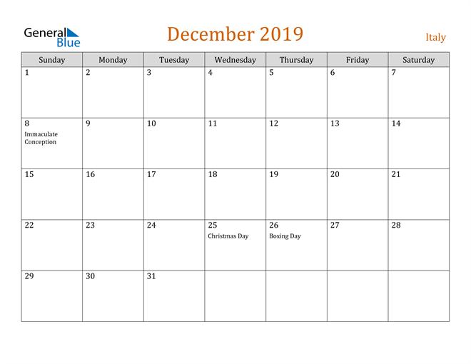 Image of December 2019 Contemporary Orange PDF, Word and Excel Calendar Calendar
